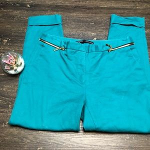 Zara Basics Teal Zipper detail cuffed ankle slacks